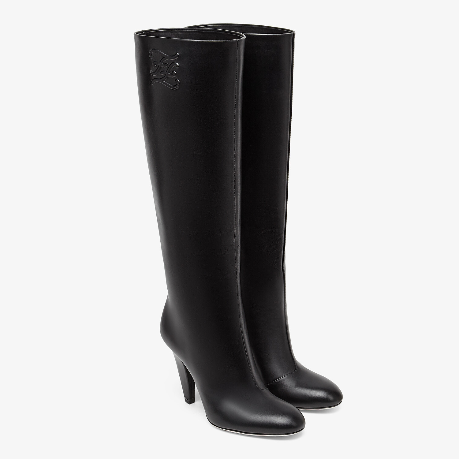 FENDI KARLIGRAPHY - Black leather, high-heeled boots - view 4 detail
