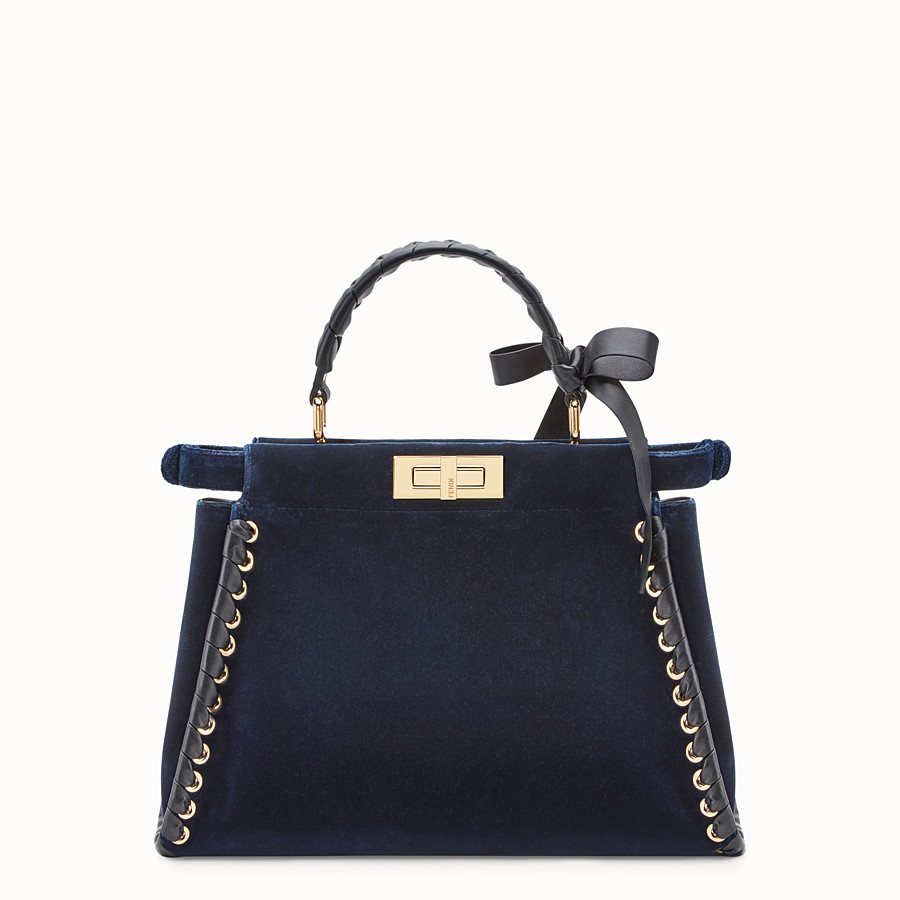 FENDI PEEKABOO REGULAR - Blue velvet bag - view 3 detail
