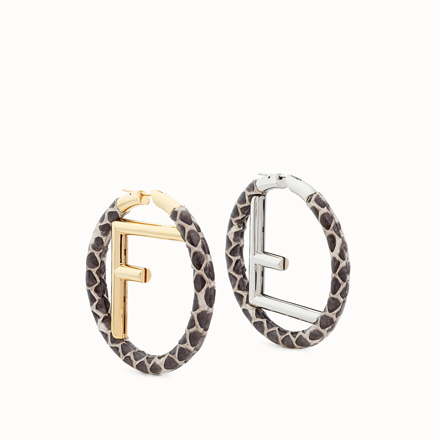 FENDI F IS FENDI EARRINGS - White elaphe earrings - view 1 detail