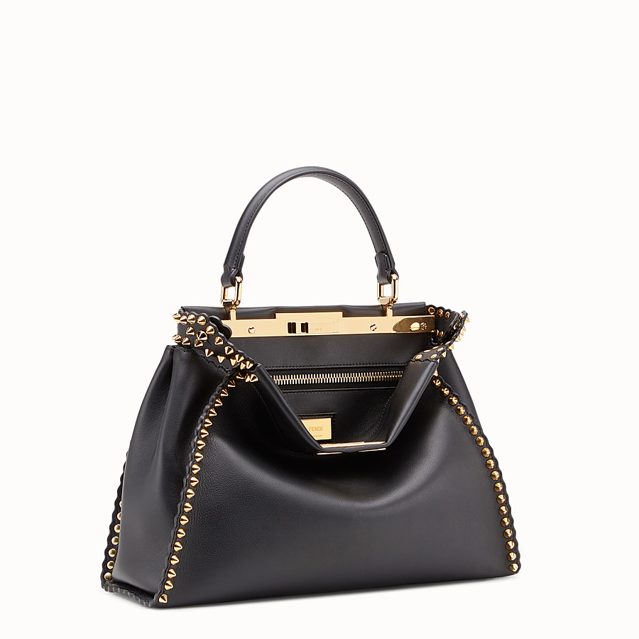 FENDI PEEKABOO REGULAR - Sac en cuir noir - view 2 detail