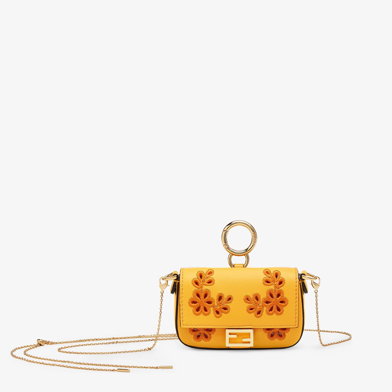 FENDI NANO BAGUETTE CHARM - Orange nappa leather charm - view 1 detail