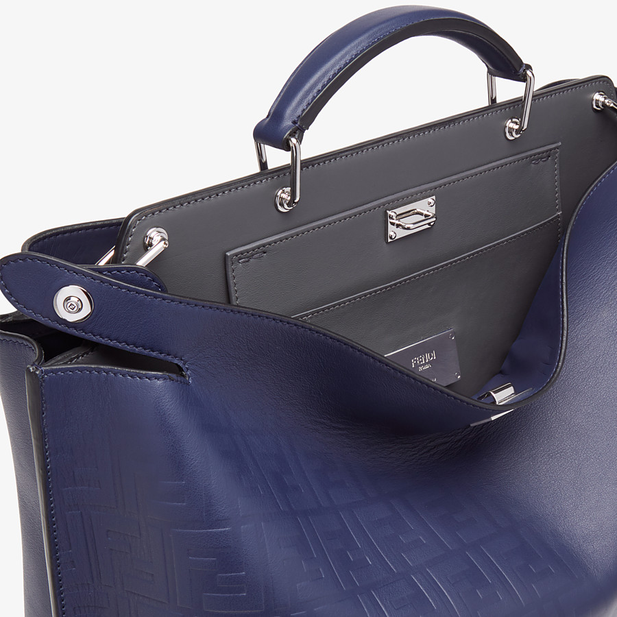 FENDI PEEKABOO ICONIC ESSENTIAL - Blue calf leather bag - view 5 detail