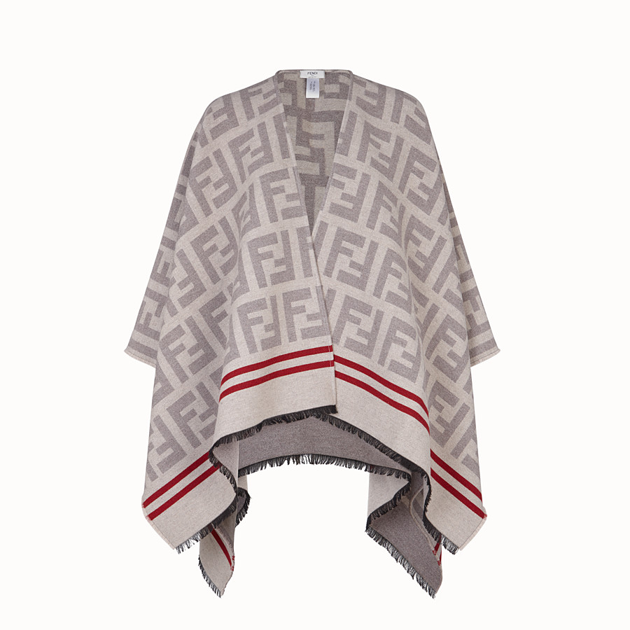 FENDI FF PONCHO - Poncho in beige wool and silk - view 1 detail
