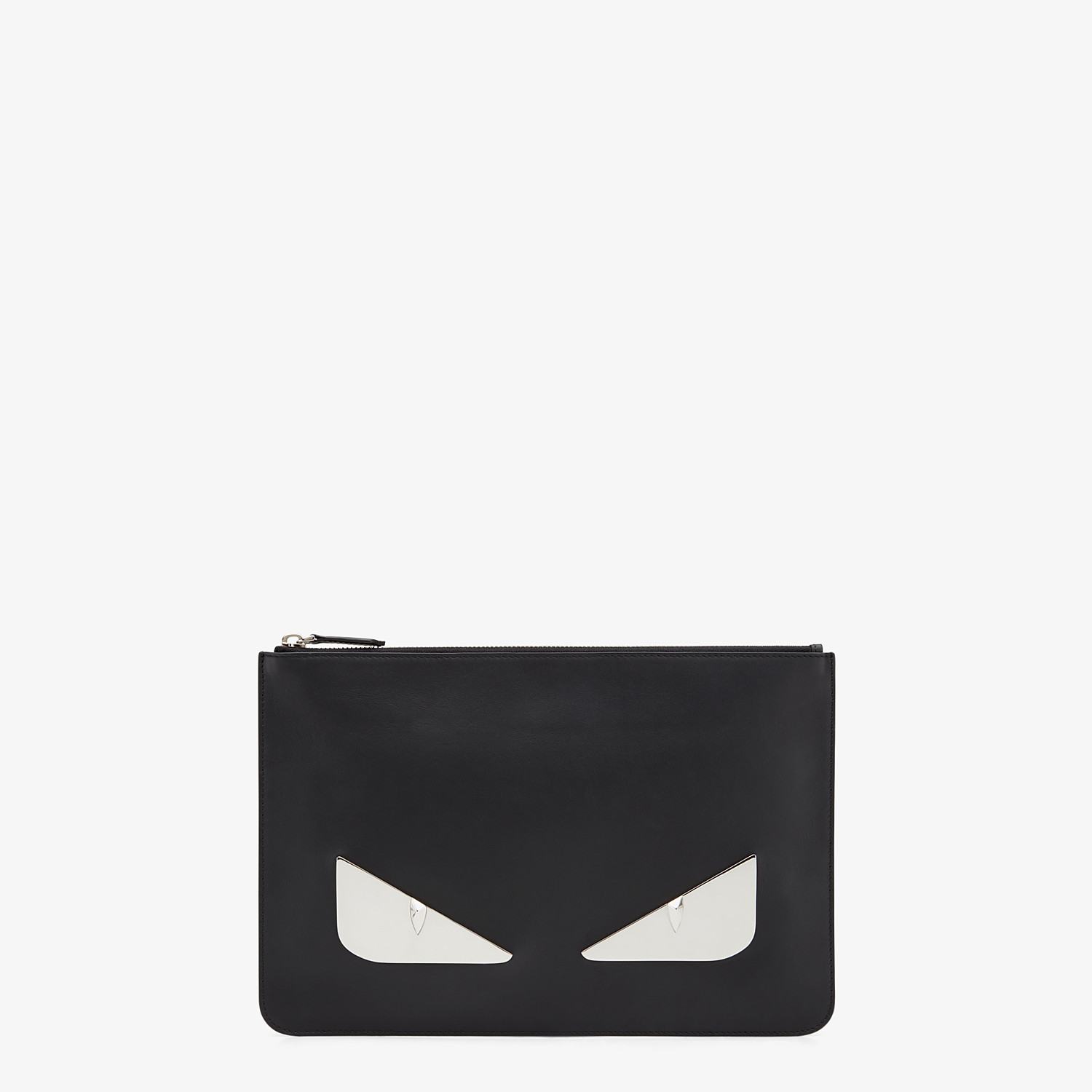FENDI POUCH - Black leather and metal pochette - view 1 detail