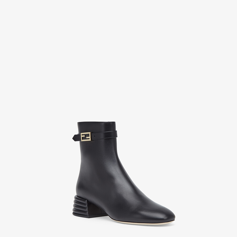 FENDI ANKLE BOOTS - Black leather booties - view 2 detail