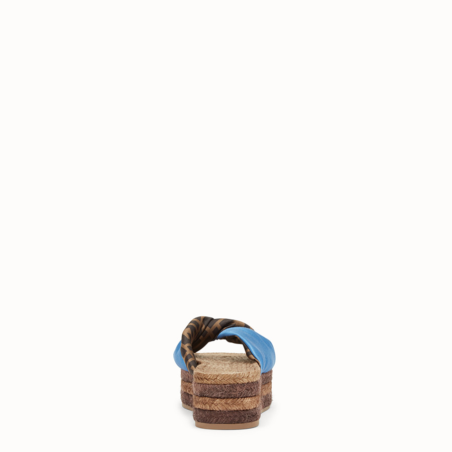 FENDI SANDALS - Blue satin slides - view 3 detail