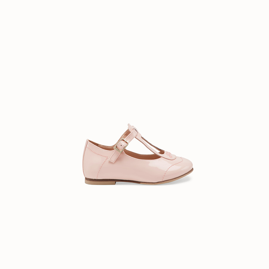 FENDI BALLERINAS - Pink patent leather first steps chameleon ballerinas - view 1 detail