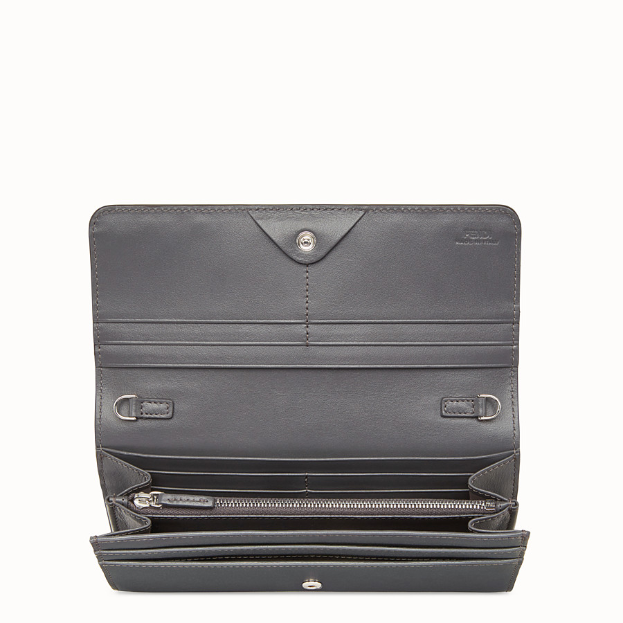 FENDI CONTINENTAL WITH CHAIN - Grey leather wallet - view 4 detail