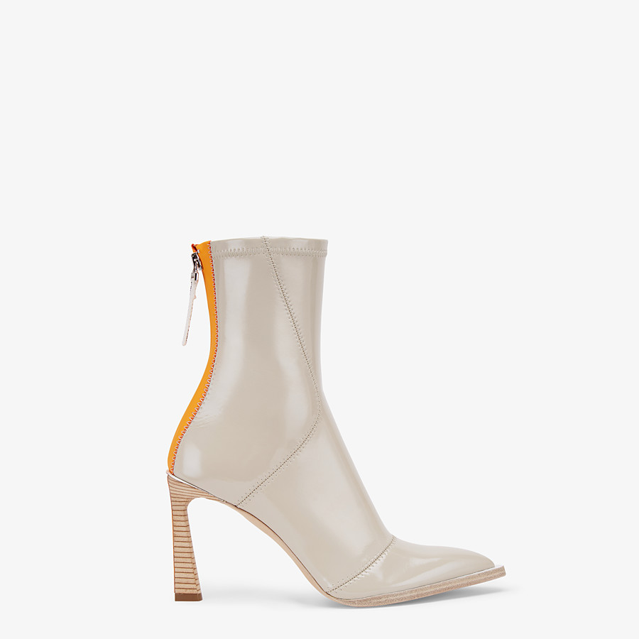 FENDI ANKLE BOOTS - Glossy gray neoprene ankle boots - view 1 detail