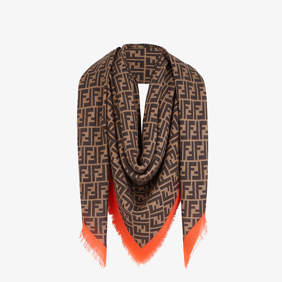 FENDI FF SHAWL - Brown-coloured shawl in cashmere and silk - view 2 detail