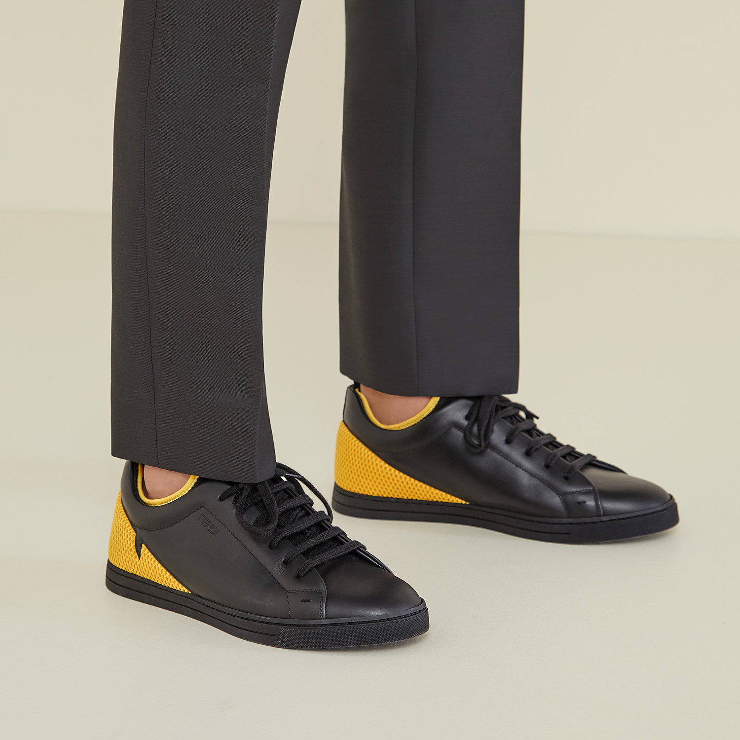 FENDI SNEAKERS - Black leather low-tops - view 5 detail