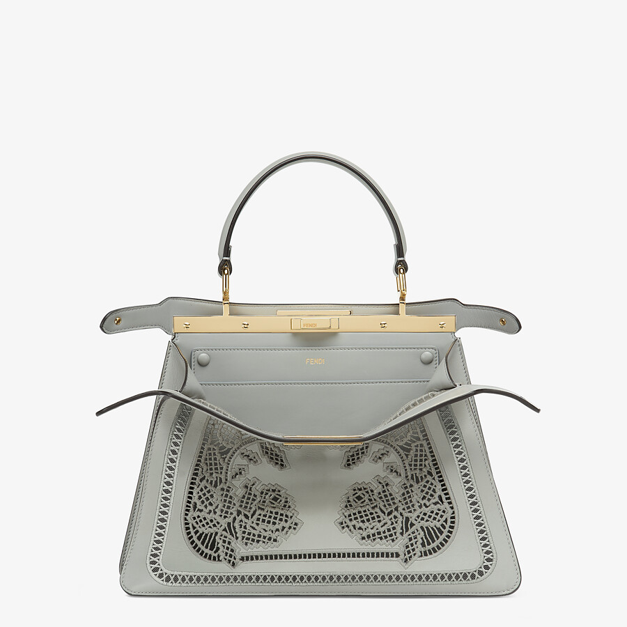 FENDI PEEKABOO ISEEU MEDIUM - Embroidered gray leather bag - view 3 detail