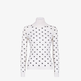 FENDI PULLOVER - White silk and wool jersey - view 1 thumbnail