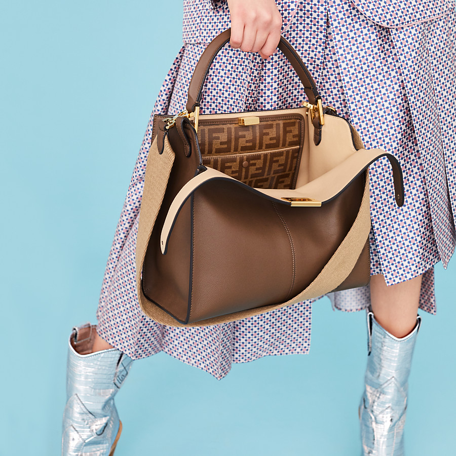 FENDI PEEKABOO X-LITE REGULAR - Brown leather bag - view 6 detail