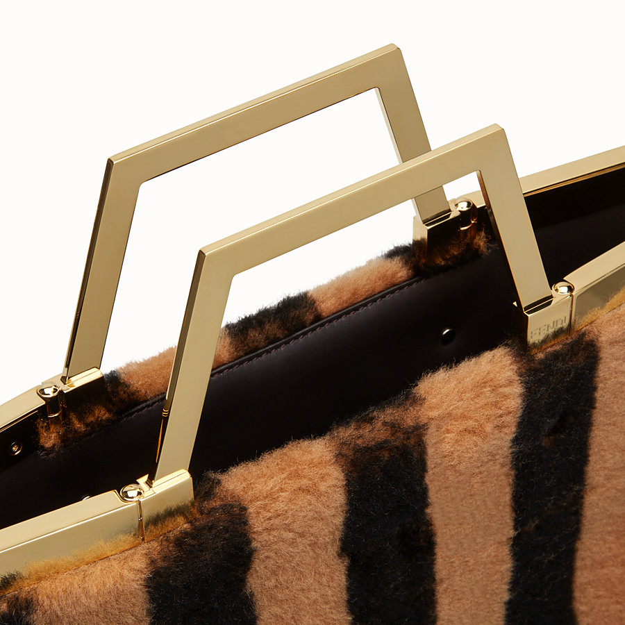 FENDI LARGE FLAT SHOPPING BAG - Multicolour, sheepskin shopper bag - view 7 detail