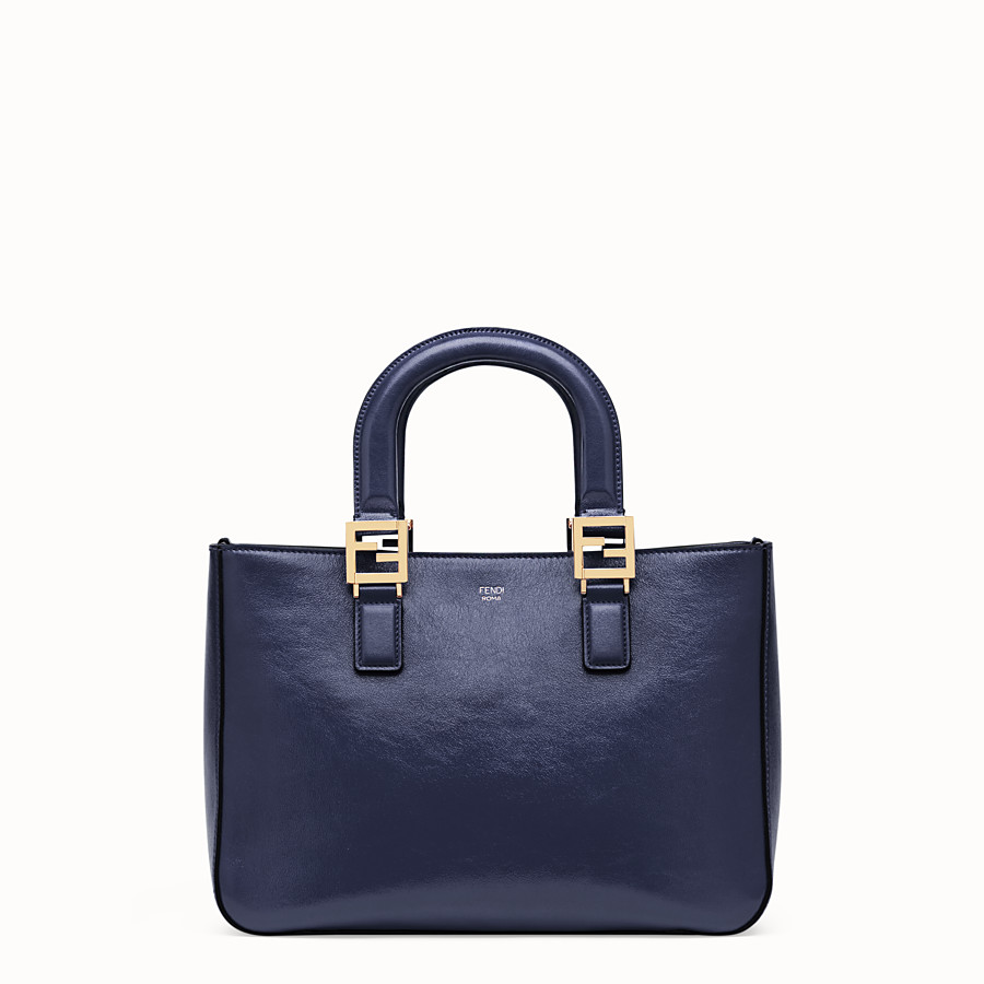 FENDI FF TOTE SMALL - Blue leather bag - view 1 detail