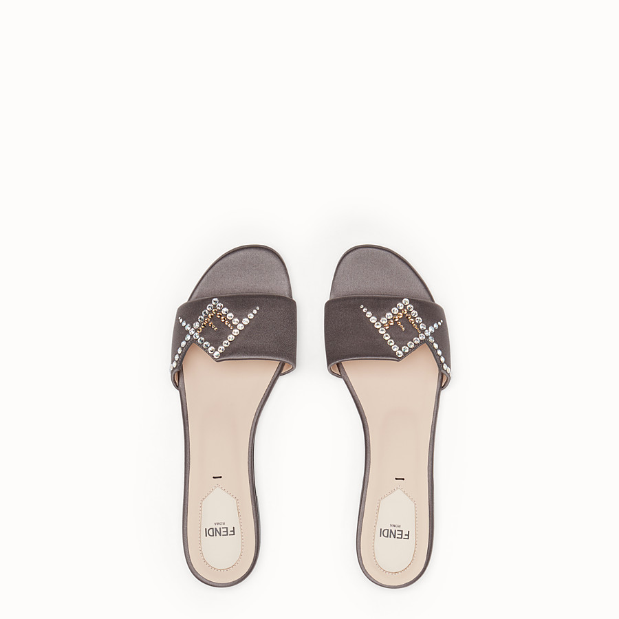 FENDI SLIDES - Grey satin slides - view 4 detail