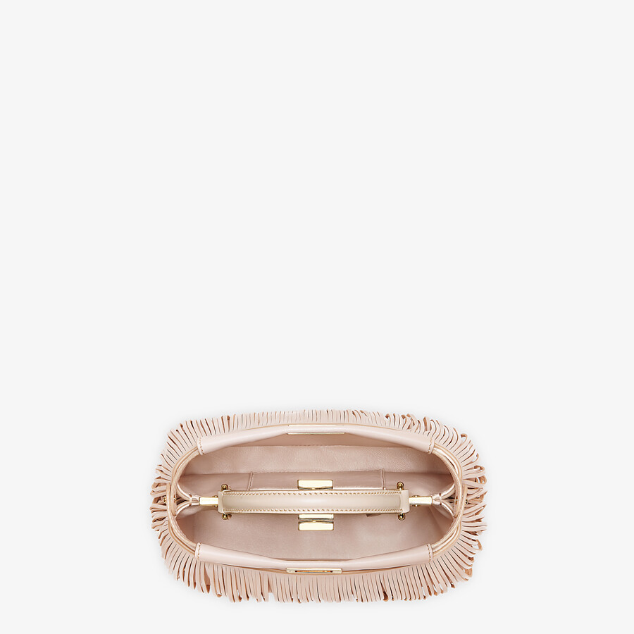 FENDI PEEKABOO ICONIC MINI - Pink leather bag with fringes - view 4 detail