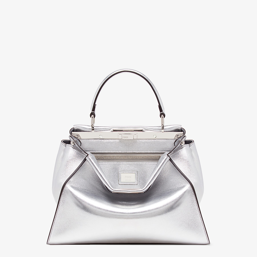 FENDI PEEKABOO ICONIC MEDIUM - Silver leather bag - view 1 detail