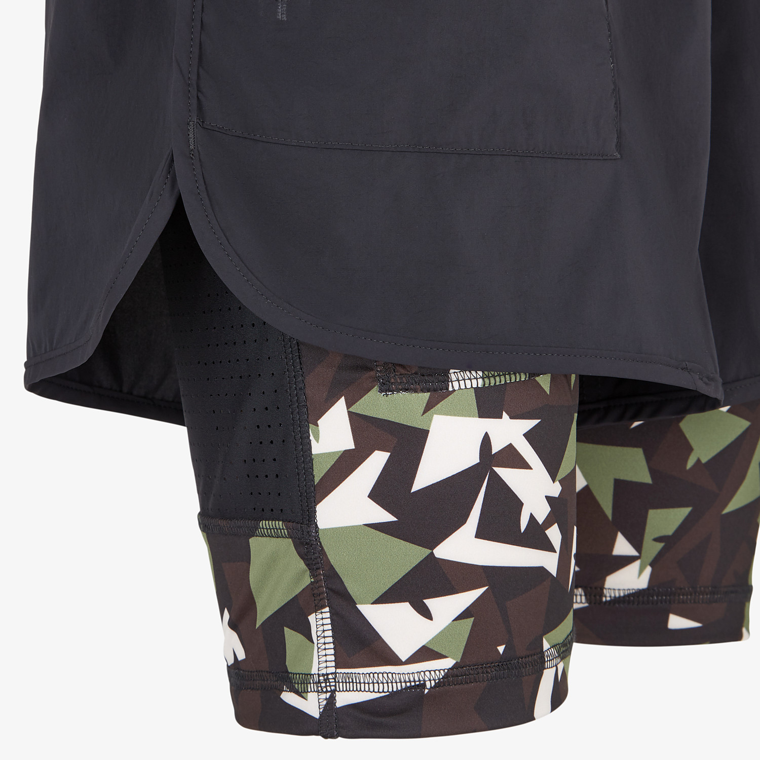 FENDI SHORTS - Black tech fabric shorts - view 3 detail