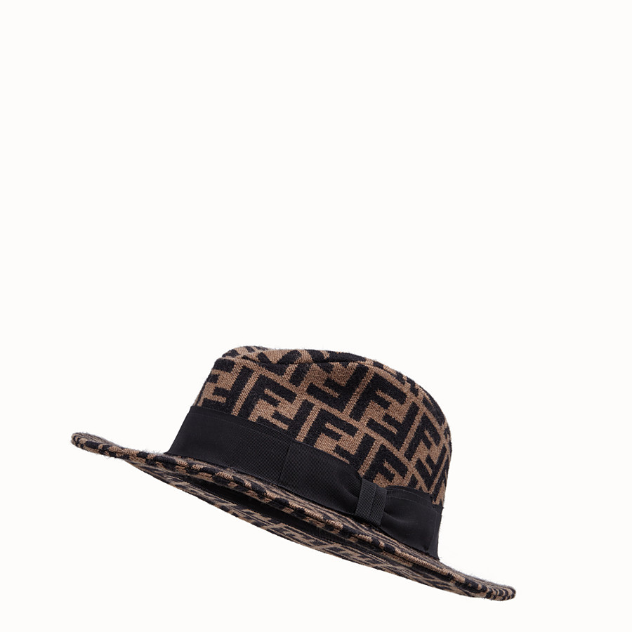 FENDI HAT - Brown silk, cashmere and wool hat - view 1 detail
