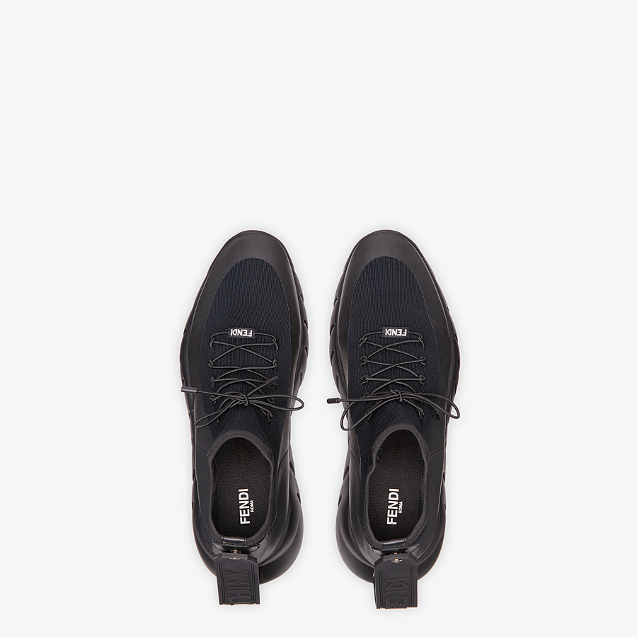 FENDI SNEAKERS - Black technical knit fabric high-tops - view 4 detail