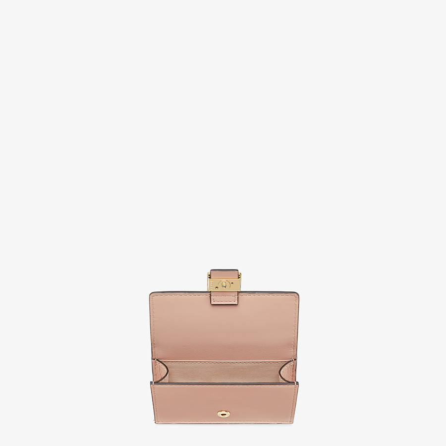 FENDI CARD HOLDER - Pink nappa leather cardholder - view 3 detail