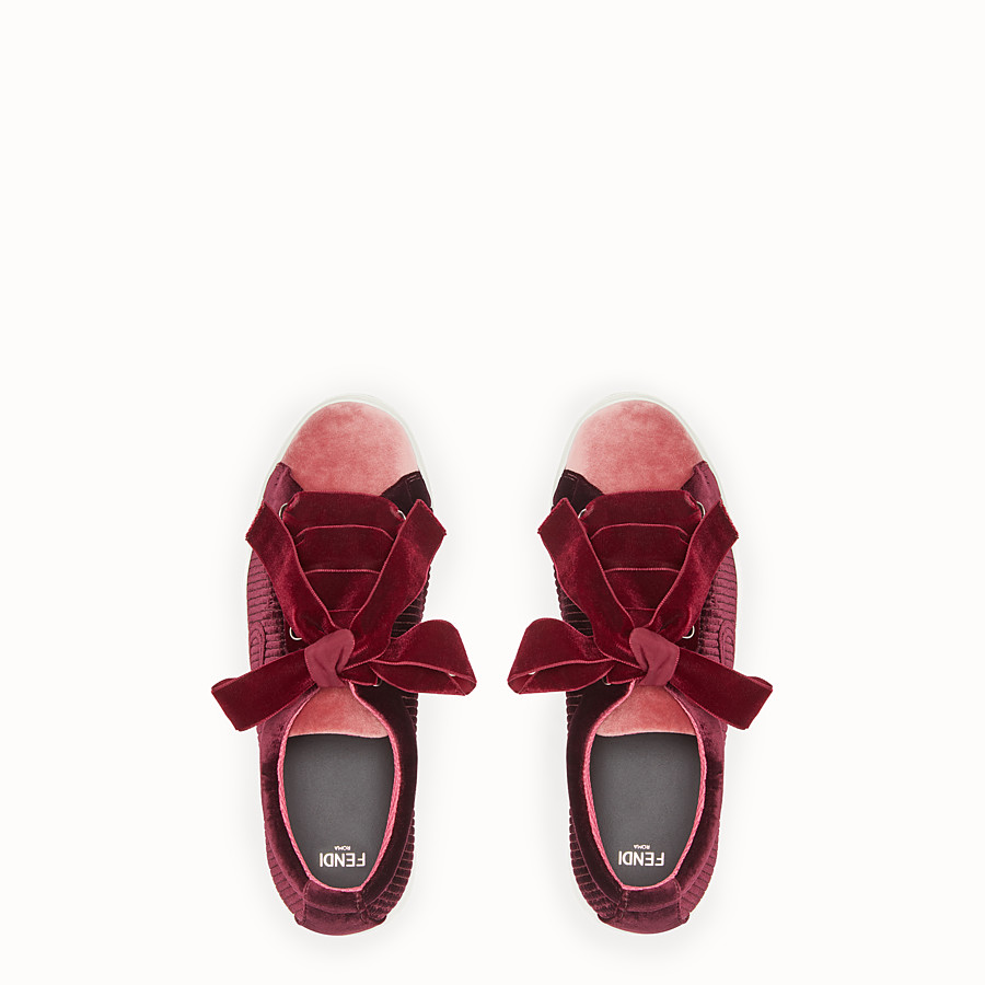 FENDI SNEAKERS - Red leather sneakers - view 4 detail