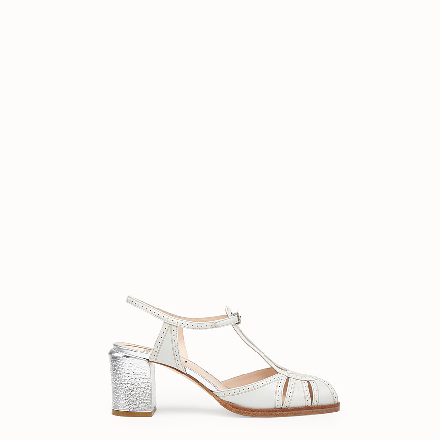 FENDI SANDALS - Grey leather sandals - view 1 detail