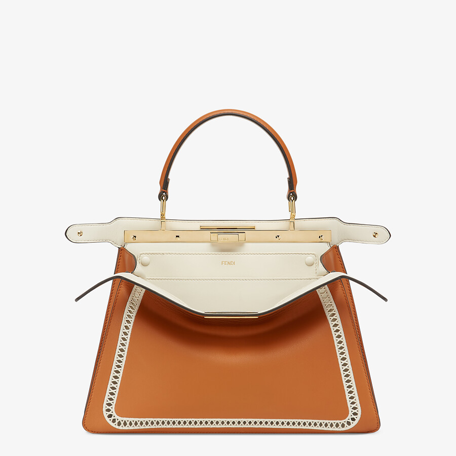 FENDI PEEKABOO ISEEU MEDIUM - Embroidered brown leather bag - view 2 detail