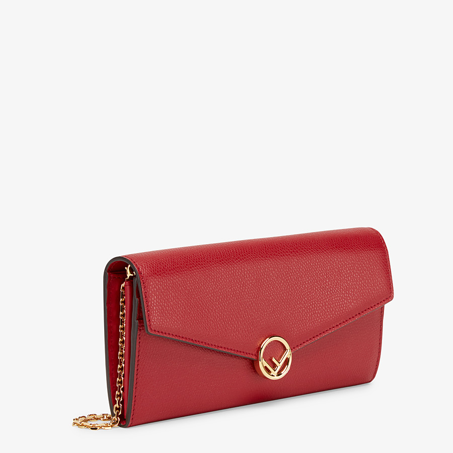 FENDI CONTINENTAL WITH CHAIN - Red leather wallet - view 2 detail