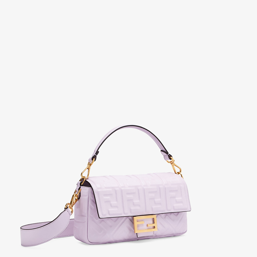 FENDI BAGUETTE - Lilac nappa leather FF Signature bag - view 3 detail