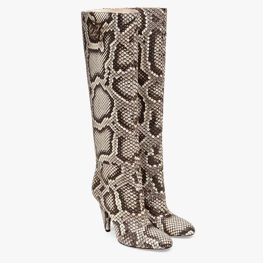 FENDI KARLIGRAPHY - High-heeled boots in brown python - view 4 detail