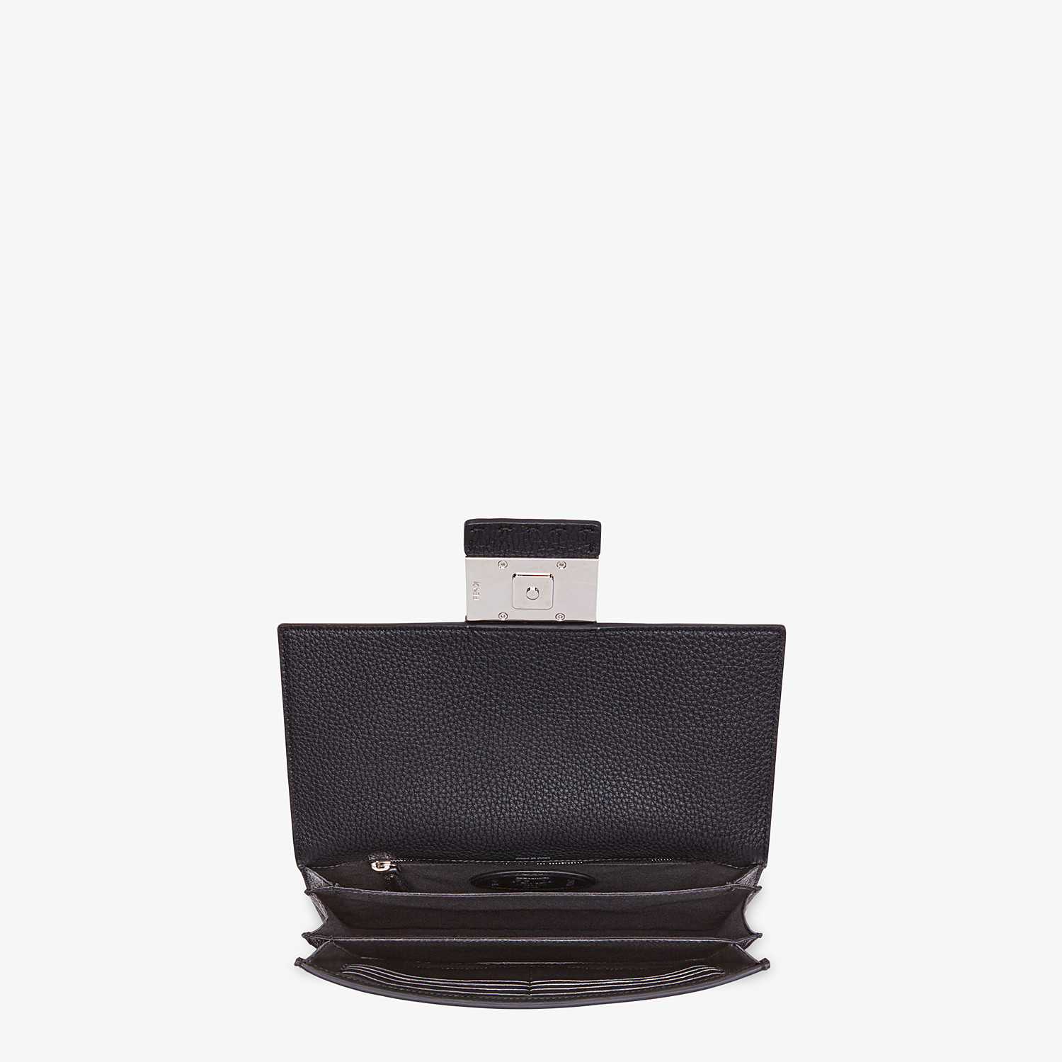 FENDI STANDING CLUTCH - Black calf leather pochette - view 3 detail