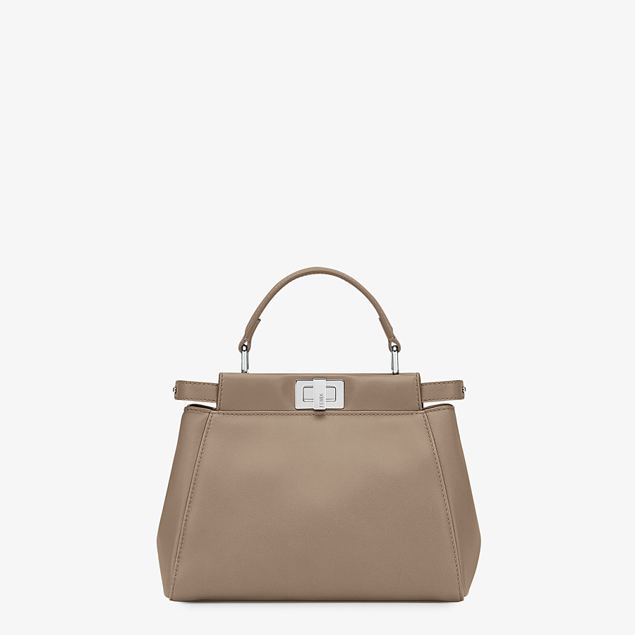 FENDI PEEKABOO ICONIC MINI - Dove grey leather hand bag - view 1 detail