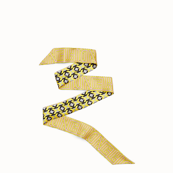 FENDI FENDI STRIPY WRAPPY - Bandeau in yellow and pink silk - view 1 small thumbnail