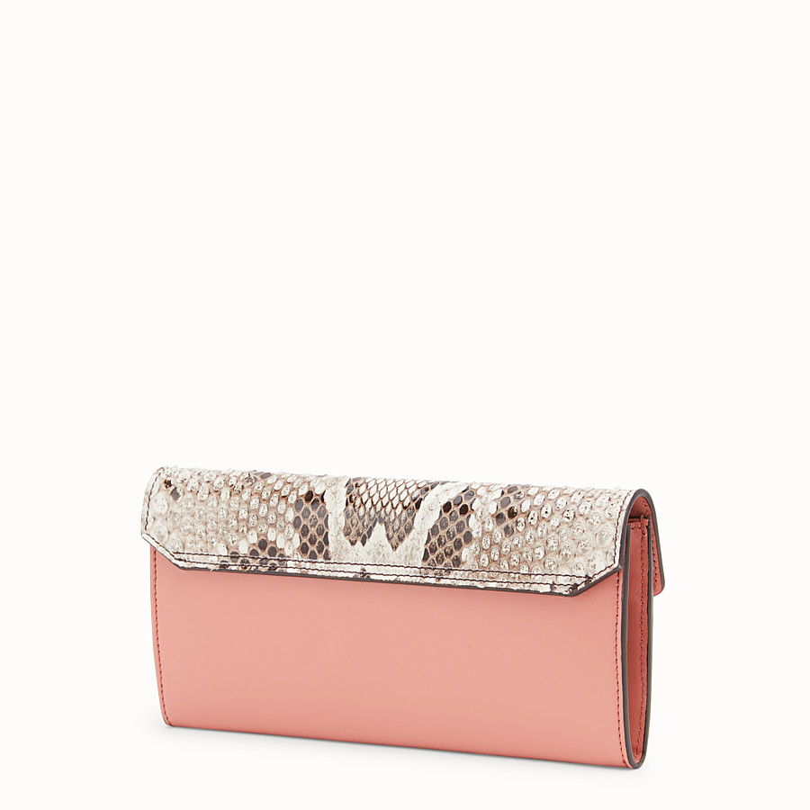 FENDI CONTINENTAL - Pink leather wallet with exotic details - view 2 detail