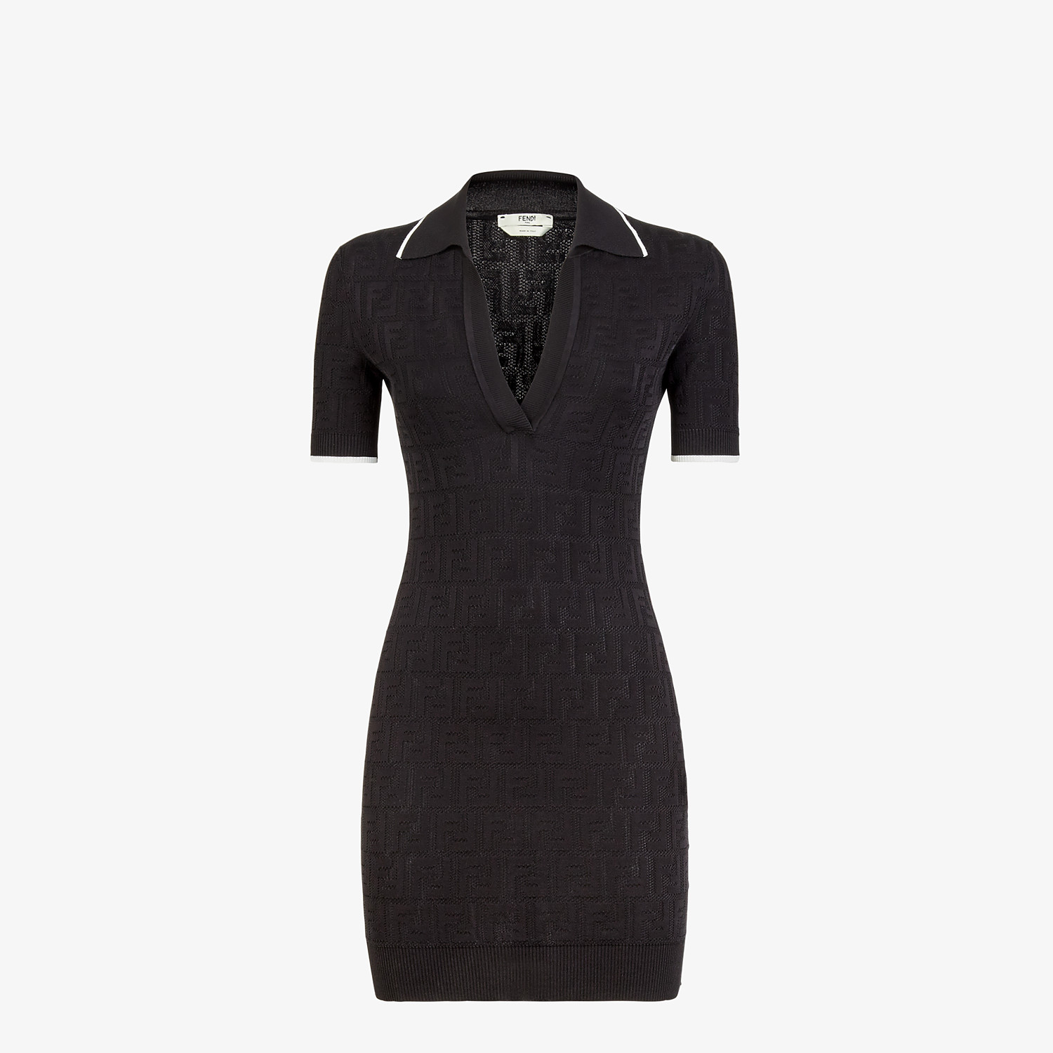 FENDI DRESS - Black viscose and cotton dress - view 1 detail