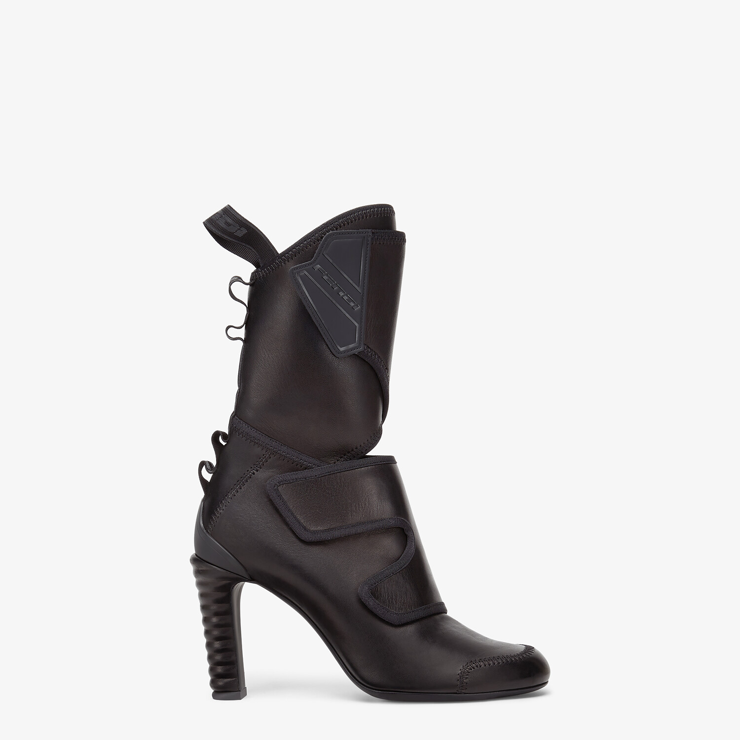 FENDI ANKLE BOOTS - Black leather Promenade Booties - view 1 detail