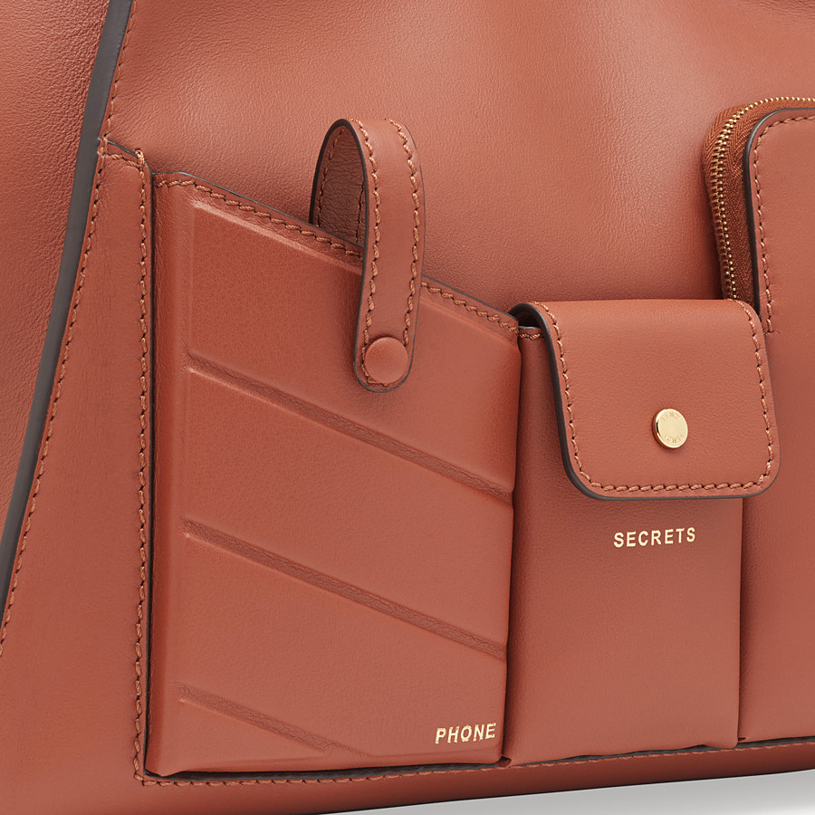 FENDI PEEKABOO REGULAR POCKET - Brown leather bag - view 6 detail