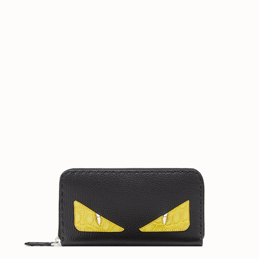 FENDI ZIP-AROUND - Black Roman leather wallet with exotic leather details - view 1 detail