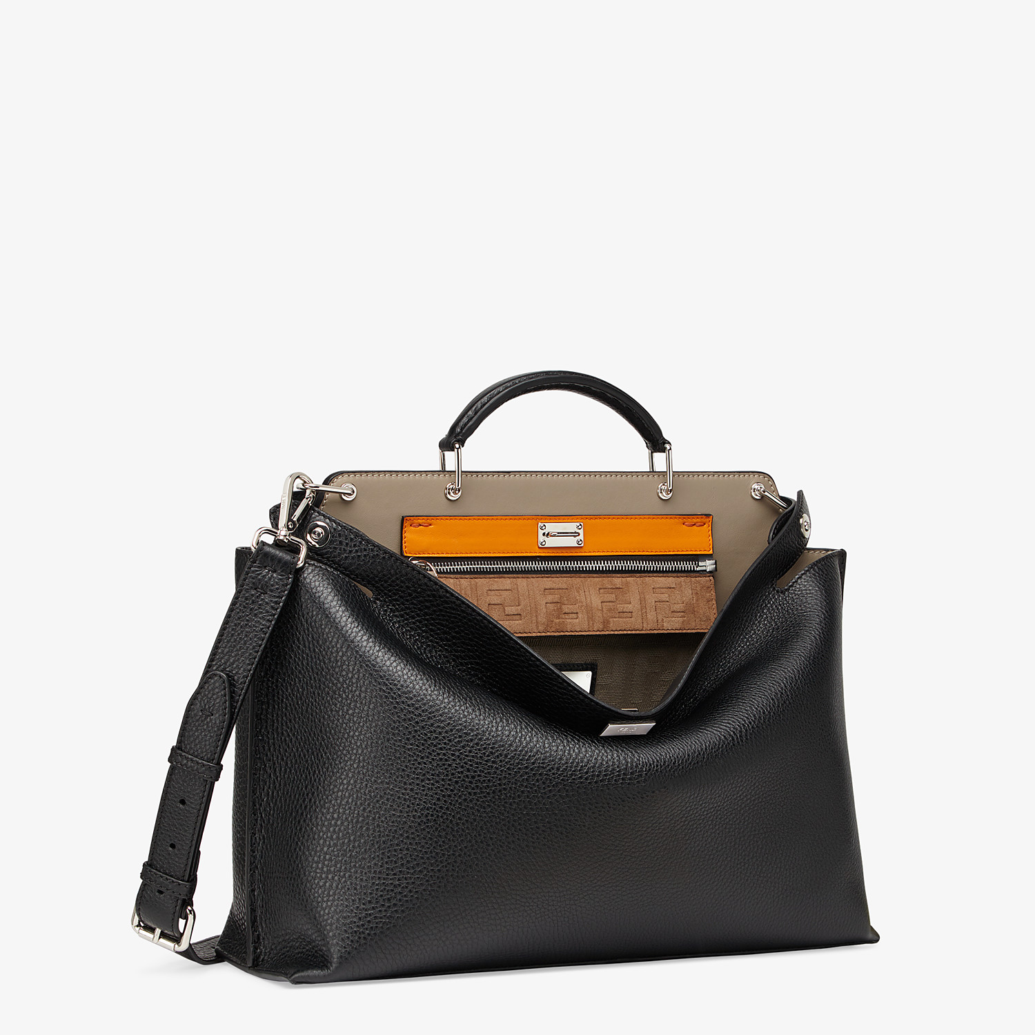 FENDI PEEKABOO ICONIC ESSENTIAL - Black leather bag - view 3 detail
