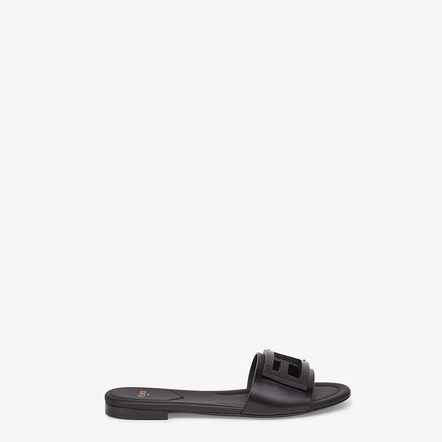 FENDI SIGNATURE - Black leather slides - view 1 detail