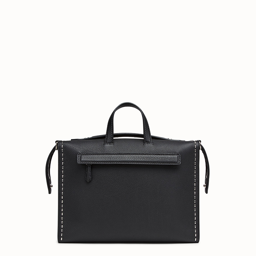 FENDI MESSENGER - Black leather Selleria shoulder bag - view 3 detail
