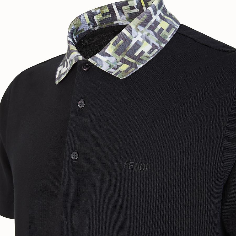 FENDI T-SHIRT - Polo in cotone nero - vista 3 dettaglio