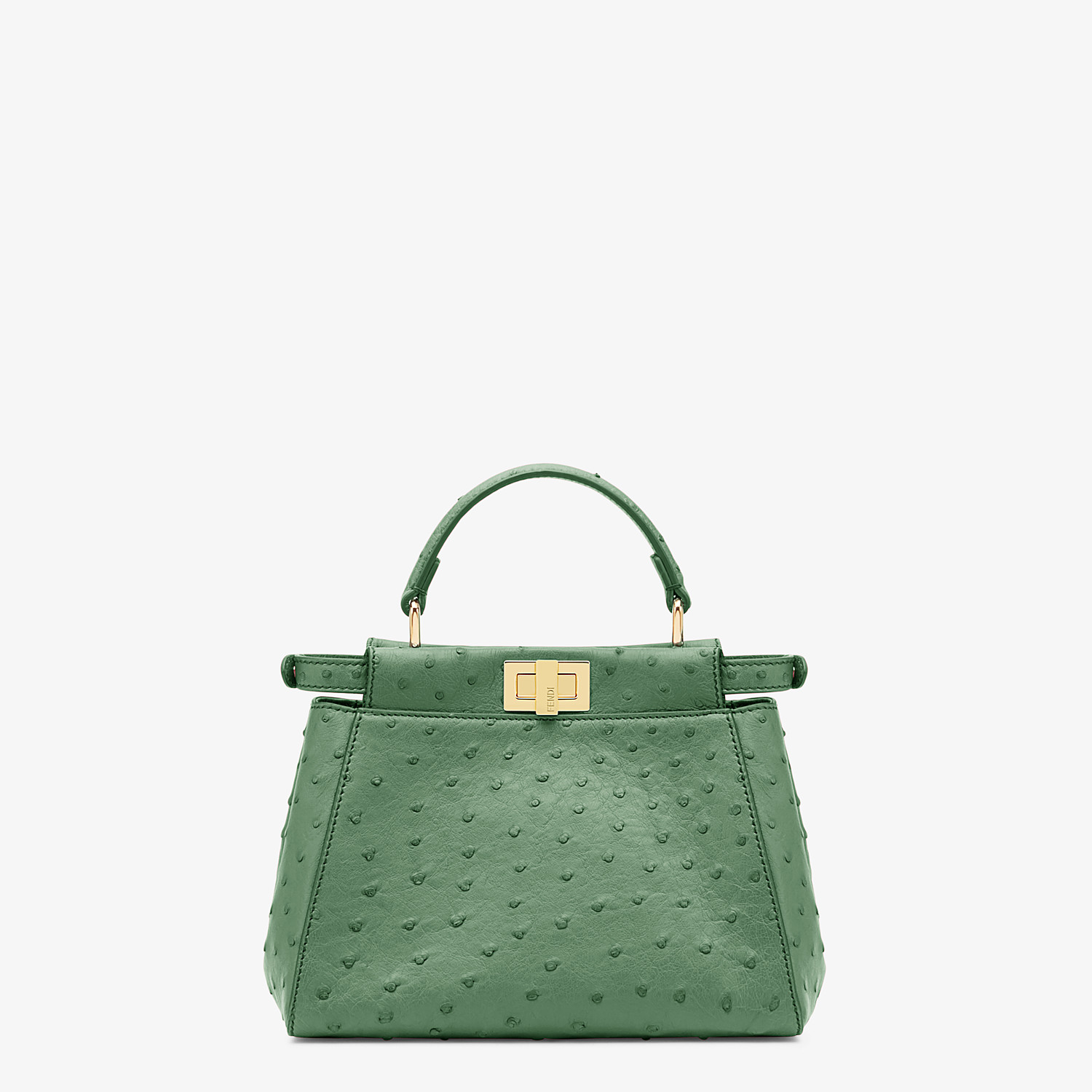 FENDI PEEKABOO ICONIC MINI - Green ostrich leather bag - view 3 detail