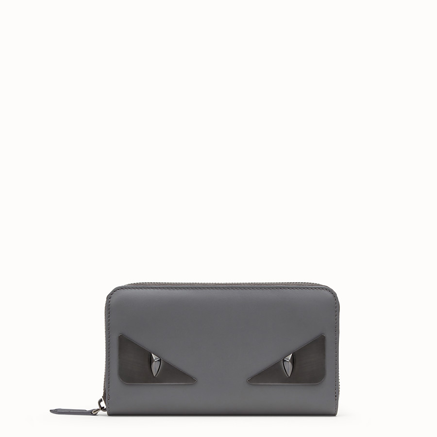 FENDI ZIP-AROUND - Gray leather wallet - view 1 detail