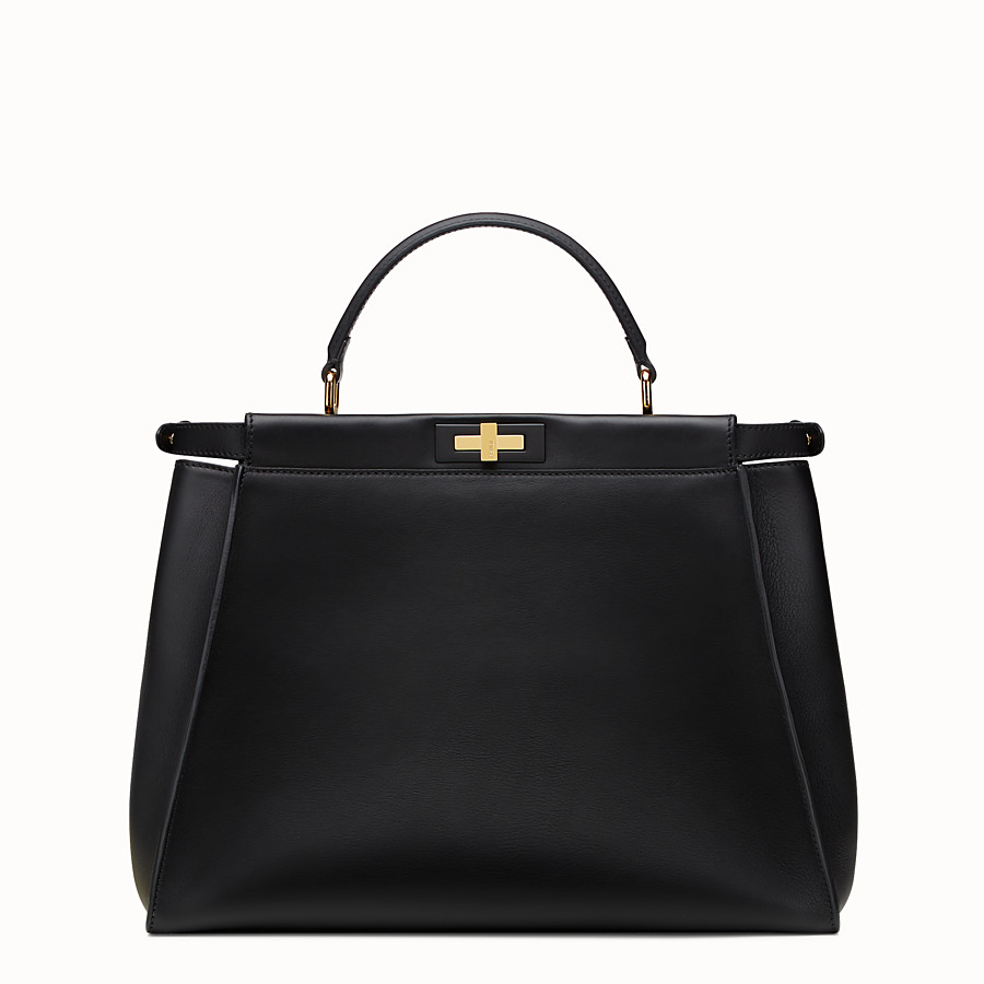 FENDI PEEKABOO LARGE - Black leather handbag - view 3 detail