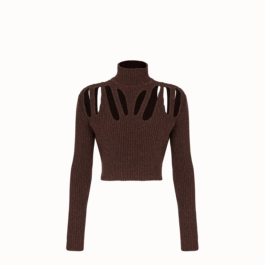 FENDI PULLOVER - Brown cashmere and wool jumper - view 1 detail