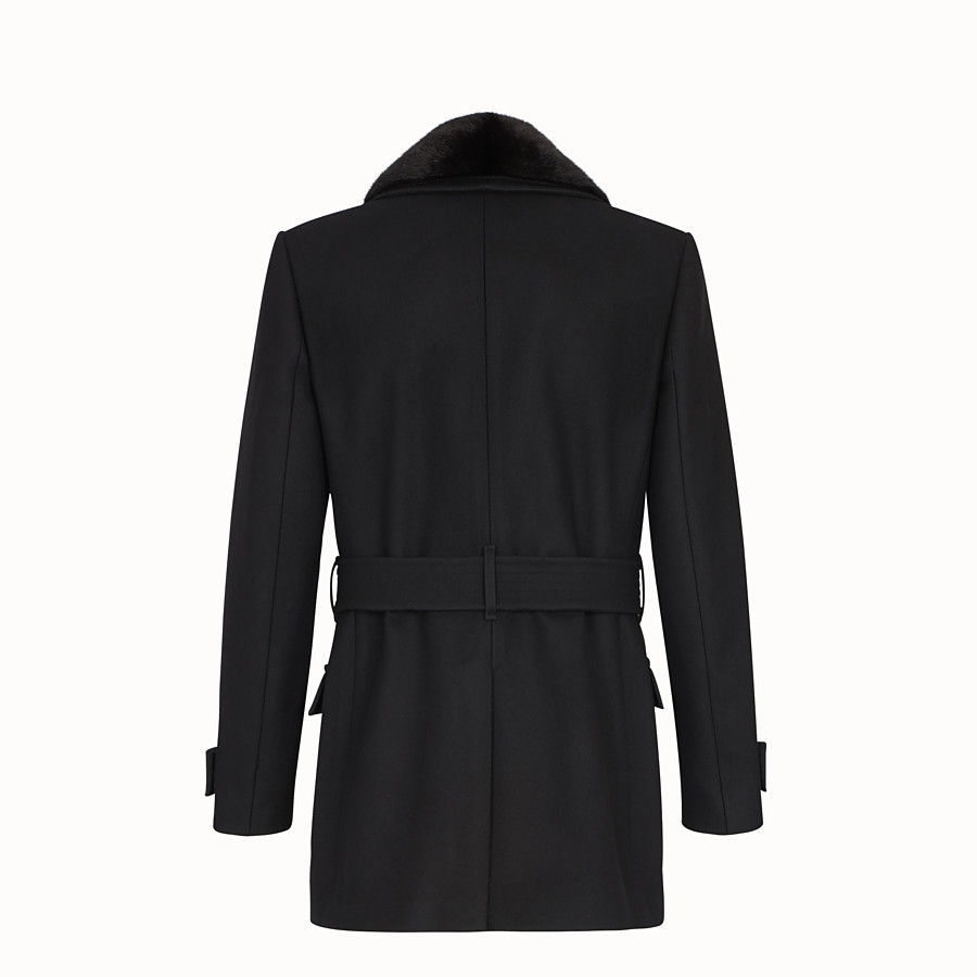 FENDI PEA COAT - Mantel aus Tuch Schwarz - view 2 detail